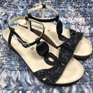NWOT Mephisto Black Bedazzled Sandals Size 5